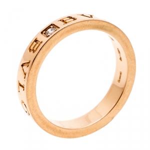 Bvlgari Bvlgari Diamond 18K Rose Gold Band Ring Size 59