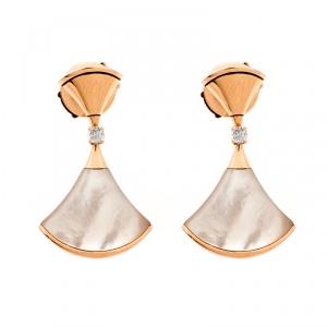 Bvlgari Divas' Dream Mother of Pearl Diamond 18k Rose Gold Drop Earrings