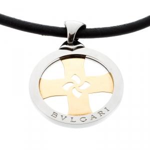 Bvlgari Tondo Cross 18k Gold & Stainless Steel Pendant Cord Necklace