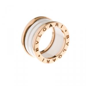 Bvlgari B.Zero1 4 Band White Ceramic 18k Rose Gold Ring Size 51