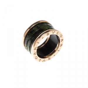 Bvlgari B.Zero1 Green Marble 18k Rose Gold Band Ring Size 51