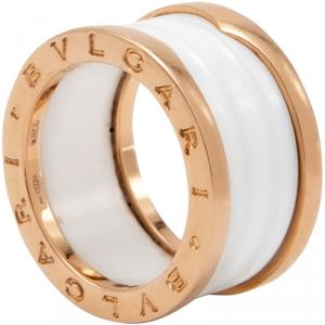 Bvlgari White B.Zero White Ceramic 18K Rose Gold Ring Size 53