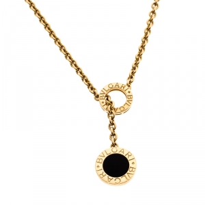 Bvlgari Onyx 18k Yellow Gold Circular Lariat Necklace