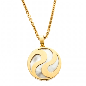 Bvlgari Optical Illusion Mother of Pearl 18k Yellow Gold Pendant Necklace