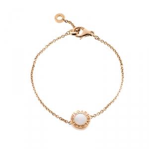 Bvlgari Carnelian Mother of Pearl  18K Rose Gold Round Bracelet SM