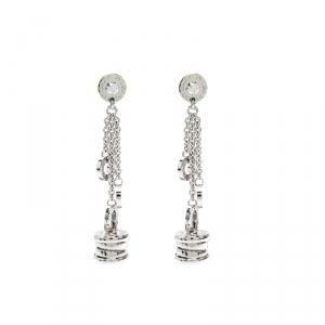 Bvlgari B.Zero1 Diamond 18k White Gold Long Dangle Earrings