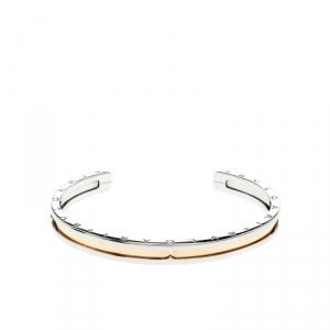 Bvlgari B.Zero1 Stainless Steel 18k Gold Narrow Open Cuff Bracelet