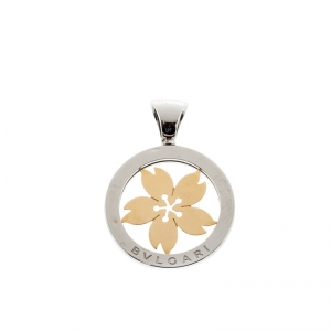 Bvlgari Tondo Sakura Flower Steel & 18k Yellow Gold Pendant