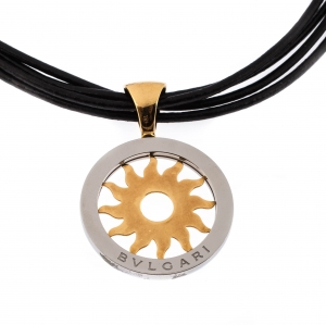 Bvlgari Tondo Sun 18k Yellow Gold & Stainless Steel Pendant Cord Necklace