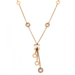 Bvlgari B.Zero1 Diamond White Ceramic 18k Rose Gold Pendant Necklace