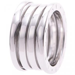Bvlgari B.Zero1 4-Band 18k White Gold Band Ring Size 51