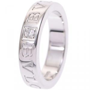 Bvlgari Diamond And 18K White Gold Band Ring Size 46