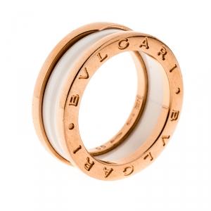 Bvlgari B.Zero1 White Ceramic 18k Rose Gold 2-Band Ring Size 55