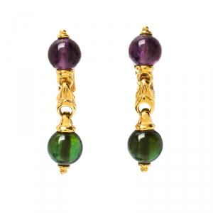 Bvlgari Amethyst Peridot 18k Yellow Gold Dangle Earrings