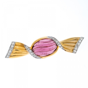 Bvlgari Bon Bon Wrapped Candy Tourmaline Diamond 18k Yellow Gold Pin Brooch