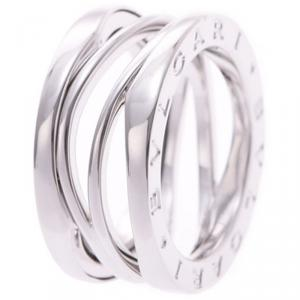 Bvlgari B.Zero Design Legend 18K White Gold 3-Band Ring Size 49