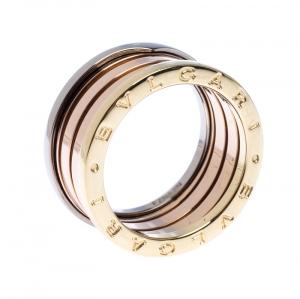 Bvlgari B.Zero1 Three Tone 18K Gold Band Ring 58