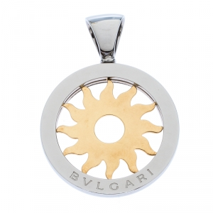 Bvlgari Tondo 18K Yellow Gold Stainless Steel Sun Pendant