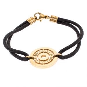 Bvlgari 18K Yellow Gold Engraved Circle Charm On Cord Bracelet
