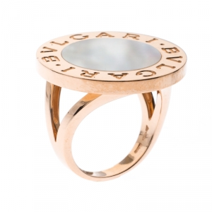 Bvlgari Mother of Pearl Inlay 18k Rose Gold Circular Ring Size 56