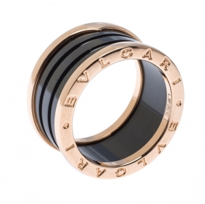 Bvlgari B.Zero1 Black Ceramic 18K Rose Gold 4 Band Ring Size 58