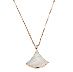 Bvlgari Divas' Dream Diamond & Mother of Pearl 18k Rose Gold Pendant Necklace