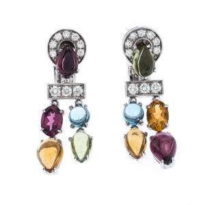 Bvlgari Allegra Diamond Multi-color Gemstone 18k White Gold Dangle Earrings
