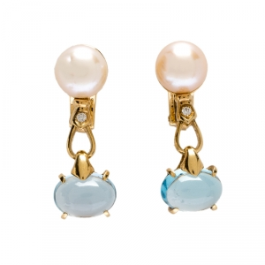 Bvlgari Allegra Cultured Pearl Diamond Blue Topaz 18k Yellow Gold Clip-on Drop Earrings