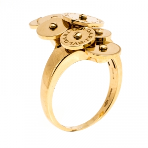 Bvlgari Cicladi 7 Disc 18K Yellow Gold Ring Size 61