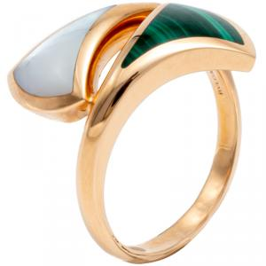 Bvlgari Divas Dream Contraire Rose Gold Mop & Malachite Ring Size 58