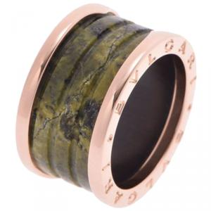 Bvlgari B.Zero1 Green Marble 18K Rose Gold Band Ring Size 54
