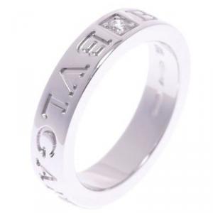 Bvlgari Double Logo 18K White Gold Diamond Ring Size 56