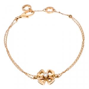 Bvlgari Fiorever Diamond 18K Rose Gold Chain Link Bracelet SM