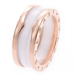 Bvlgari B.Zero1 2-Band White Ceramic 18k Rose Gold Band Ring Size 57
