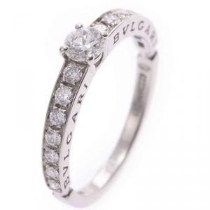 Bvlgari Solitaire Platinum Diamonds Pave Ring Size 55