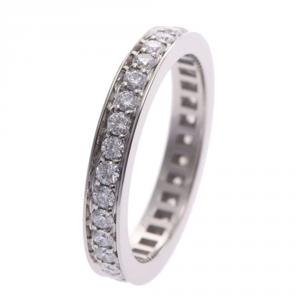 Bvlgari Marry Me Eternity Platinum Diamonds Pave Band Ring Size 53