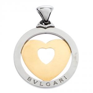 Bvlgari Tondo Heart 18K Yellow Gold & Stainless Steel Pendant