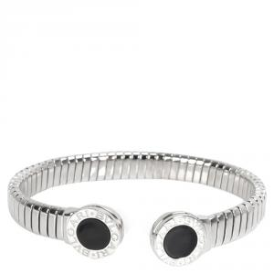 Bvlgari Tubogas Onyx Stainless Steel Cuff Bangle