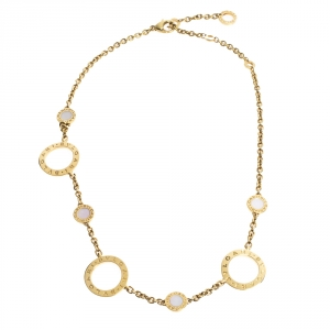 Bvlgari Mother of Pearl 18K Yellow Gold Circle Station Necklace