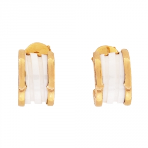 Bvlgari B.Zero1 White Ceramic 18K Rose Gold Earrings