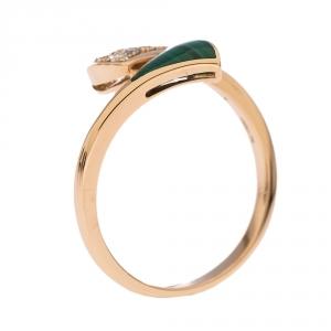 Bvlgari Divas' Dream Diamond Malachite 18K Rose Gold Ring Size 53