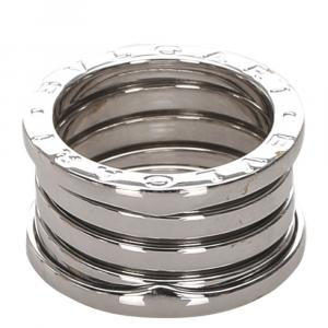 Bvlgari B.zero1 4 Band 18K White Gold Ring Size 51