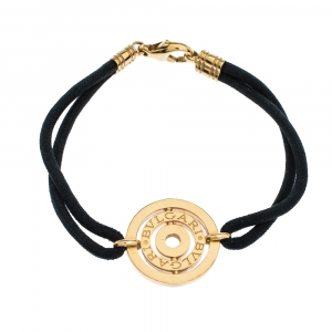 Bvlgari Engraved Circle Charm 18K Yellow Gold Black Cord Bracelet