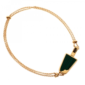 Bvlgari Gelati Diamond Malachite 18K Rose Gold Soft Bracelet ML