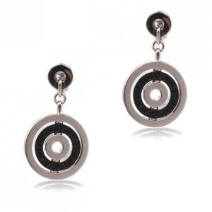 Bvlgari Black Ceramic 18 K White Gold Cerchi Earrings