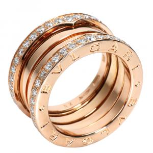 Bvlgari B.zero1 Diamond 18K Rose Gold Ring 52