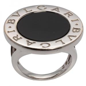 Bvlgari Onyx Inlay 18K White Gold Circular Ring Size 52