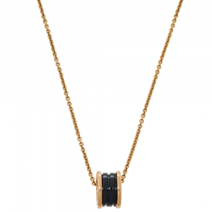 Bvlgari B.zero1 Black Ceramic 18K Rose Gold Pendant Necklace