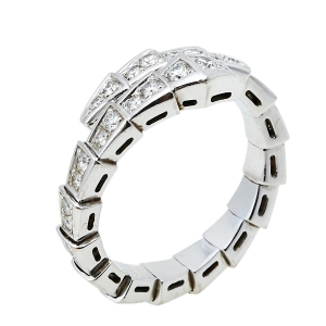 Bvlgari Serpenti Viper Diamond 18K White Gold Coil Ring L