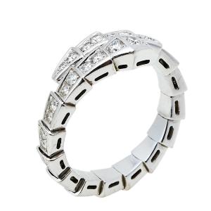 خاتم بلغاري سيربينتي فيبر لولبي ذهب أبيض عيار 18 و ألماس مقاس كبير (لارج)